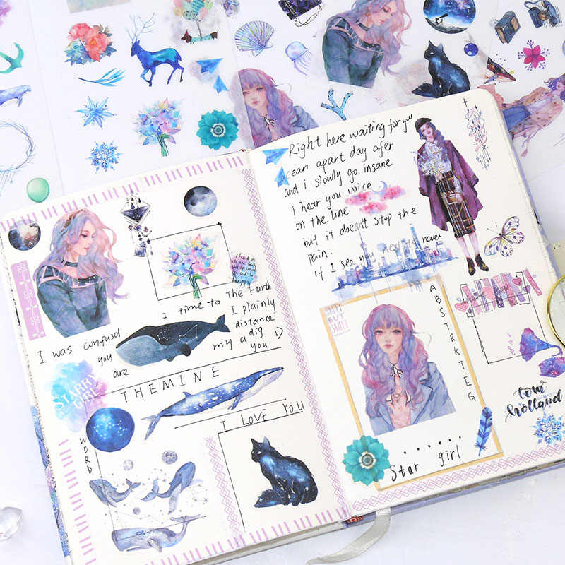 6 feuilles/paquet Kawaii papeterie autocollants mignon baleine autocollants belle papier autocollants pour enfants bricolage journal Scrapbooking Photo Ablums