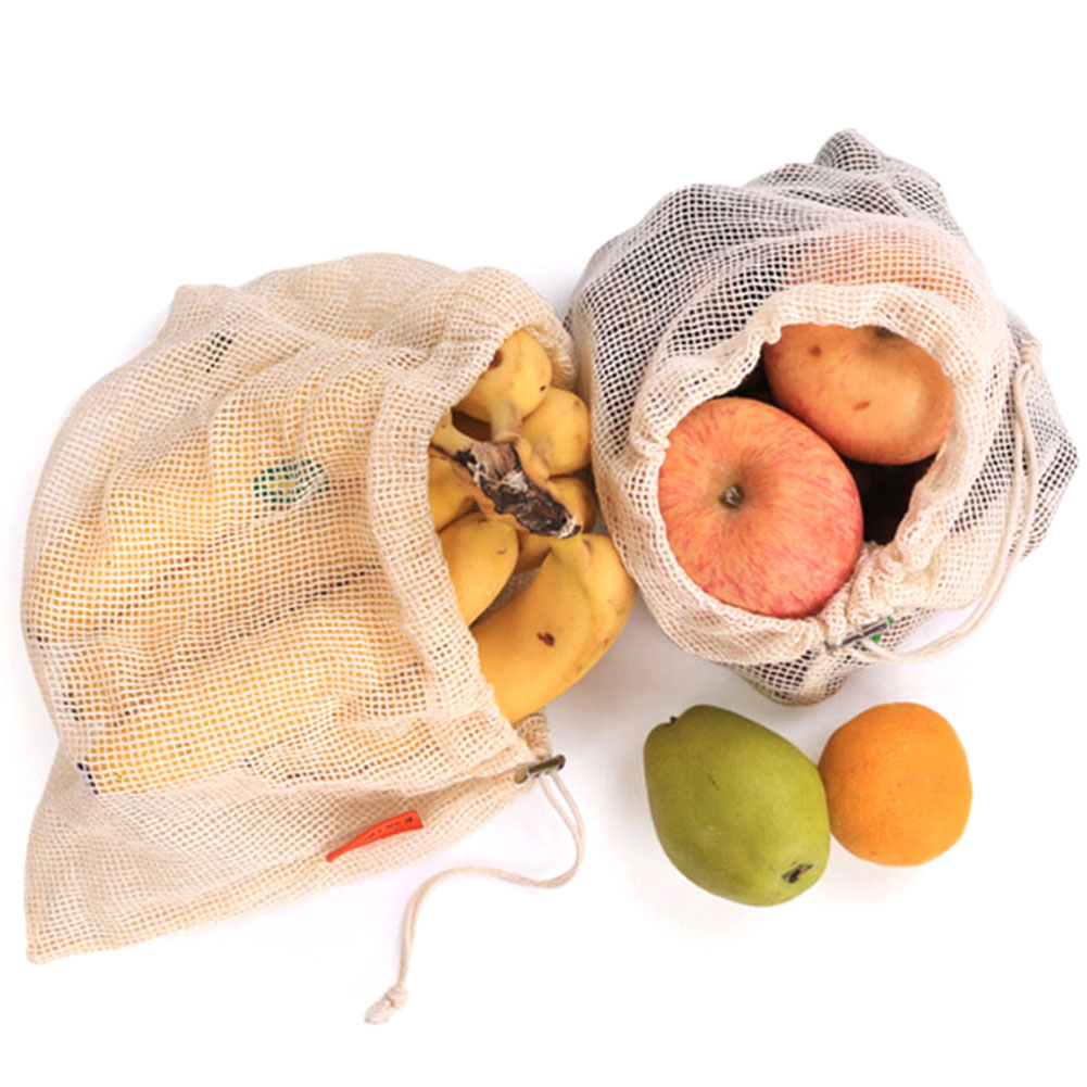 Hot Sale Reusable Produce Bags Cotton Vegetable Bags Mesh Drawstring Home Kitchen Fruit&Vegetable Handbag Net Shopping Bags