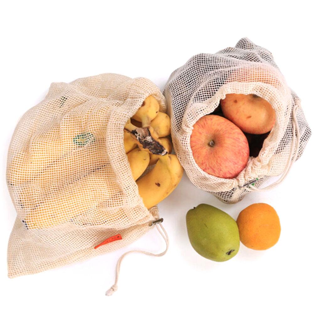 NEw Reusable Vegetable Bags Cotton Shopping Bag Net Drawstring Washable Kitchen Home Fruit Storage Eco Bag Mesh Shopping Bags