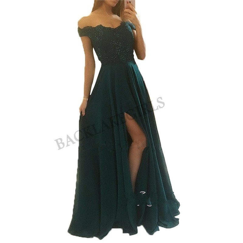 Elegant Cheap   Prom     Dresses   Long Sexy High Slit   Dress   Chiffon Evening Formal Party Gowns 2019 Zipper Back