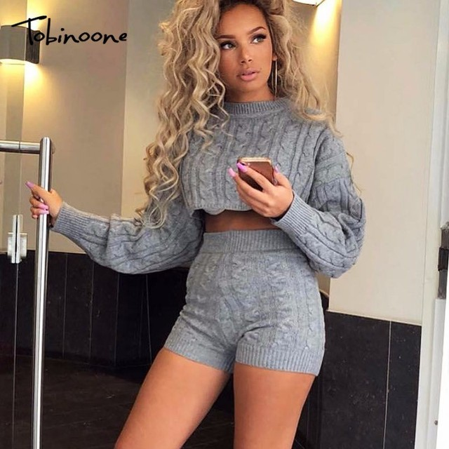 1eb9aaceee0 Tobinoone Two Piece Set Women Clothes Autumn Winter Outfits Long Sleeve Knit  Sweater Tops+Bodycon
