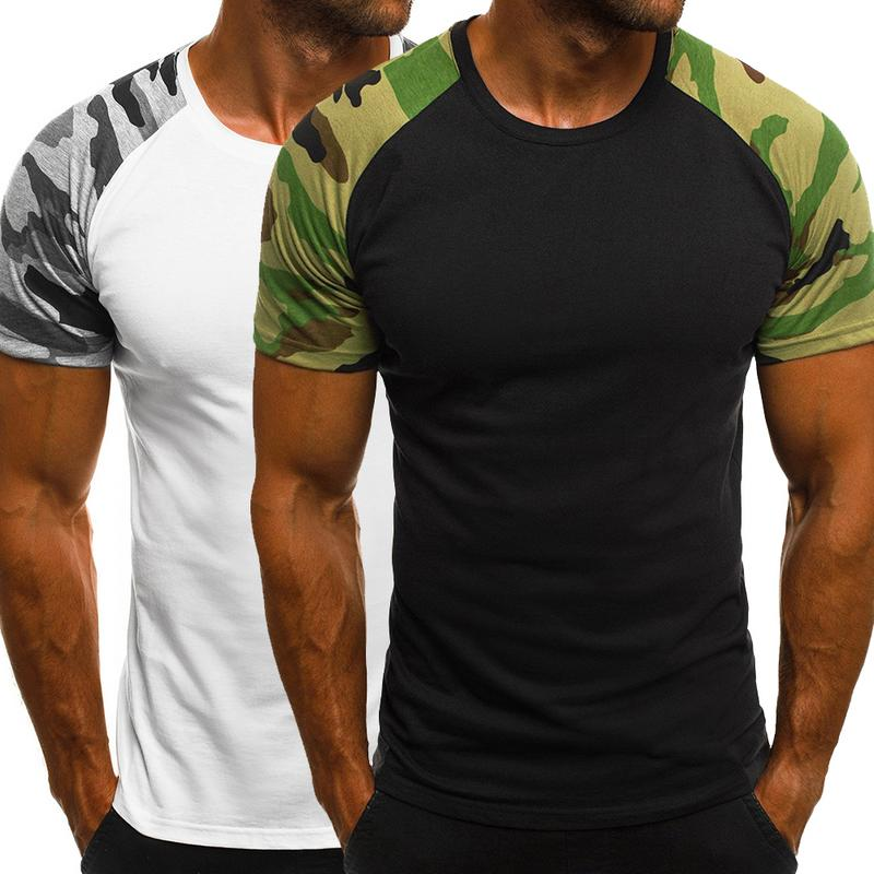 Men's Casual Sports Short Sleeve T-Shirt With Crewneck Camouflage T-Shirt Tops Fashion Spring Summer