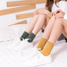 Autumn and Winter New Pure Color Series Versatile Cotton Socks Comfortable Warm for Women