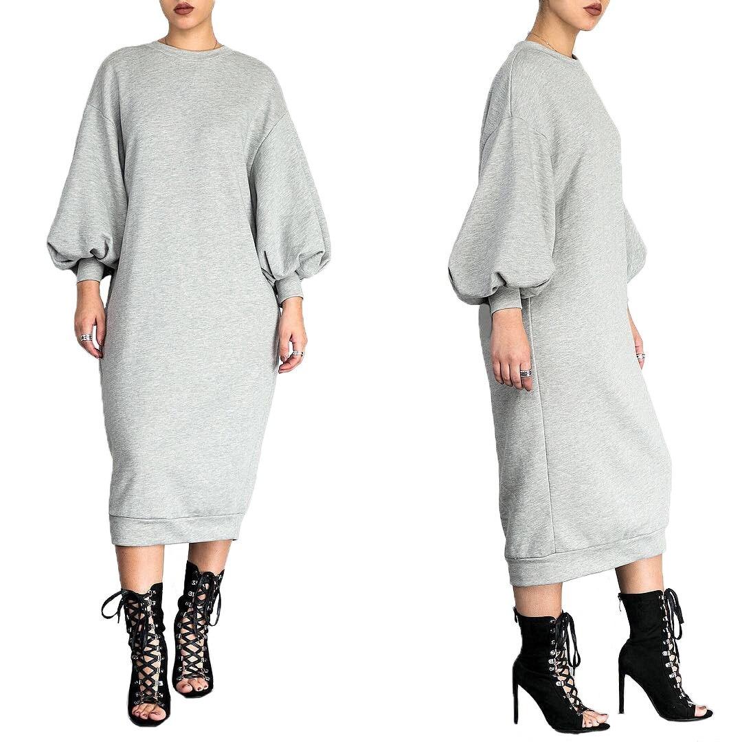 Automne Hiver Femmes Longues Robe Sweat décontracté À Manches Longues O-cou sweat large Pull Longue Robe Vestidos Femmes