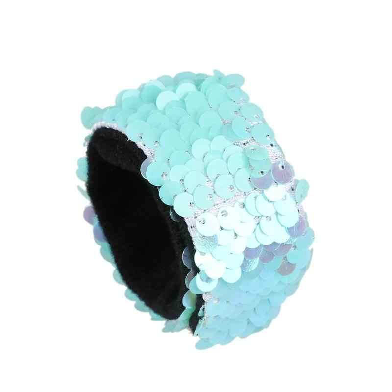Cekinowa bransoletka z zapięciem na nadgarstek opaska na głowę opaska do włosów dla dzieci Party dobrodziejstw Novolty kolorowy walentynkowy prezent 8 kolorów