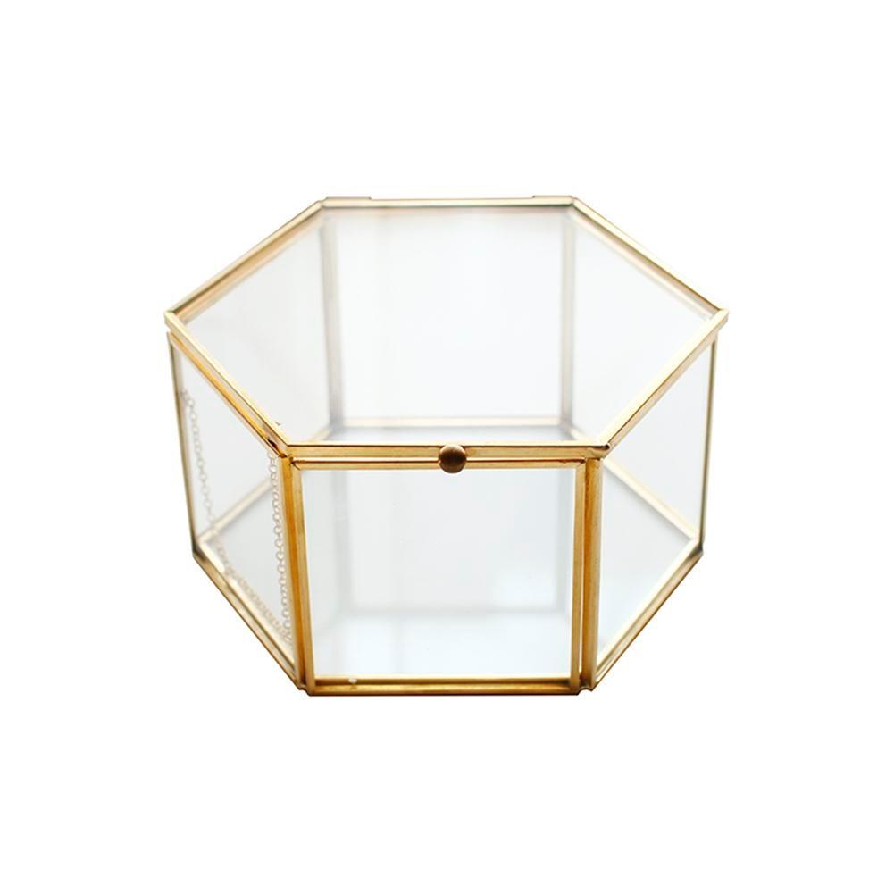 LUDA Geometric Clear Glass Jewelry Box Jewelry Organizer Holder Tabletop Succulent Plants Container Home Jewelry Storage
