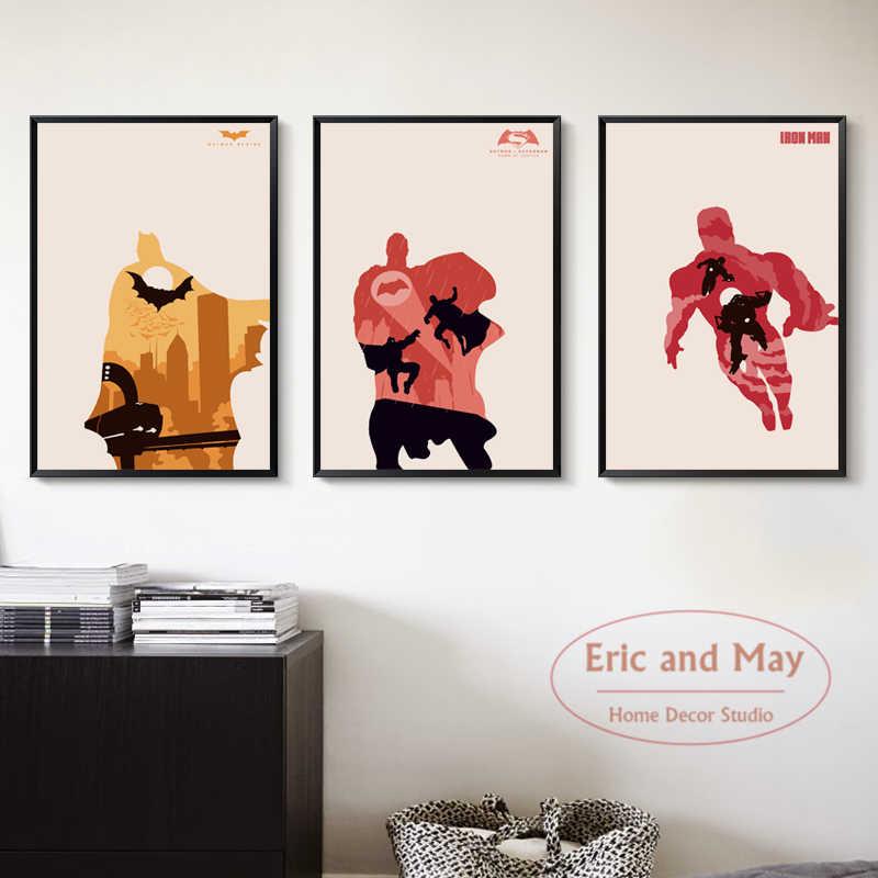 Супергерой персонажи фильма Бэтмен Джокер Супермен железный человек холст картины книги по искусству Принт плакат картина Домашний декор росписи