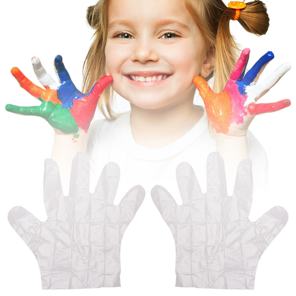 Disposable Glove Multipurpose Pe Disposable Protective One-off Plastic Glove Cooking Eating Gloves For Children Kids 100 Pcs/lot