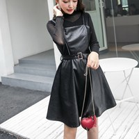 2019 New Fashion Summer Two Piece Set Sashes Women Sexy T Shirt And A Line Pu Leather Dress Solid Suits Belt Casual Outfits