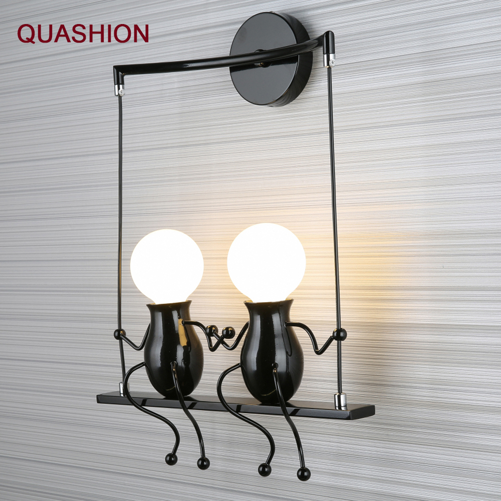 American country Modern Iron Led Wall Lamp Bedroom bedside aisle Cartoon Robot Wall sconce Light Children room Luminaire E27American country Modern Iron Led Wall Lamp Bedroom bedside aisle Cartoon Robot Wall sconce Light Children room Luminaire E27