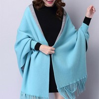 Spring Autumn Poncho Batwing Sleeve Knitted Cardigans Women Solid Loose Double sided Shawl Sweater