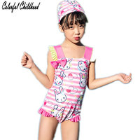 989408832fcf35 Lovely Bunny Pattern Print Baby Girls Swimsuit Toddler Girls Suspender One  Piece Swimwear Bow Knot Ruffles