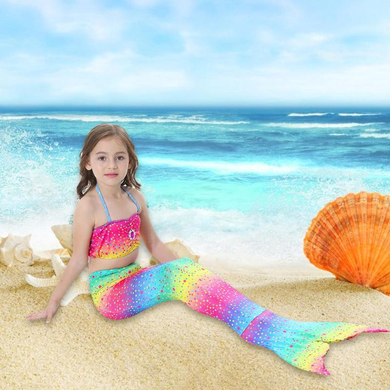 Girls Princess Dress Gradient Color Fish Tail Princess Swimsuit Girls Set Cosplay Costume For Baby Girls Dress Birthday Gift