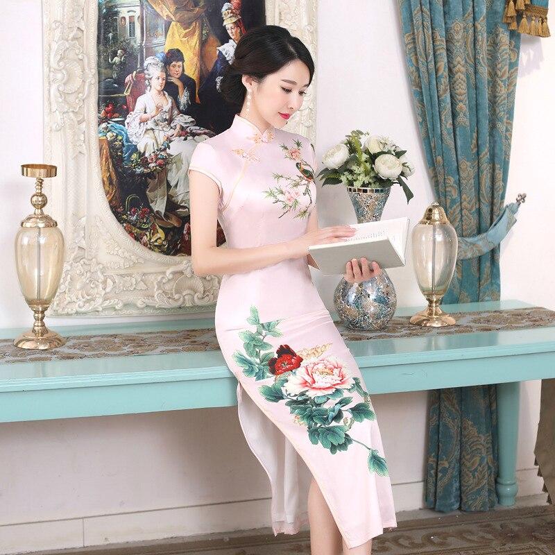 SHENG COCO Plus Size Chinese Peony Flower Dresses Qipao Hot Cheongsam Long Female Reception Evening Beige XL XXL XXXL