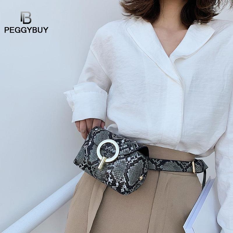 Fashion Snake Print Belt Bag Women Serpentine PU Leather Waist Bags Female Fanny Pack Women Serpentine Fanny Chest Bags