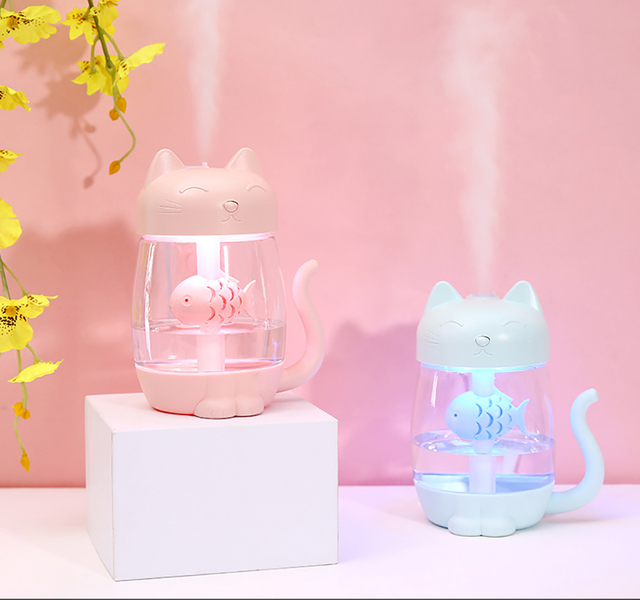Cute Cat Air Humidifier Ultrasonic 3 In 1 Fan Aroma Essential Oil Diffuser Purifier Atomizer USB Charging LED light For Home 2