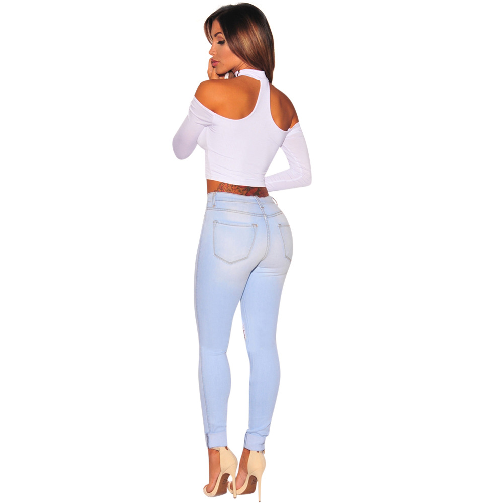 2019 Jeans of Women High Waist Skinny Pencil Denim Pants Ripped Hole Elastic Stretch Jeans Women Sexy Casual Jeans Plus Size