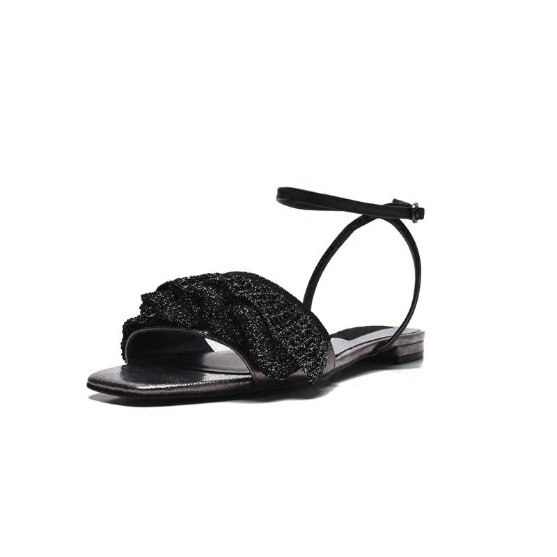 Oveja Pic Volantes Mujer Tobillo Chic Correa Verano Caliente Zapatos Casuales As Diseño Pic Pisos Sandalias as De Piel Acogedor Diapositivas qzxzHZX