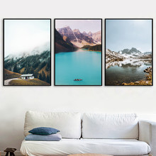 Snow Mountain Blue Lake Forest Landscape Wall Art Canvas Painting Nordic Posters And Prints Pictures For Living Room Decor