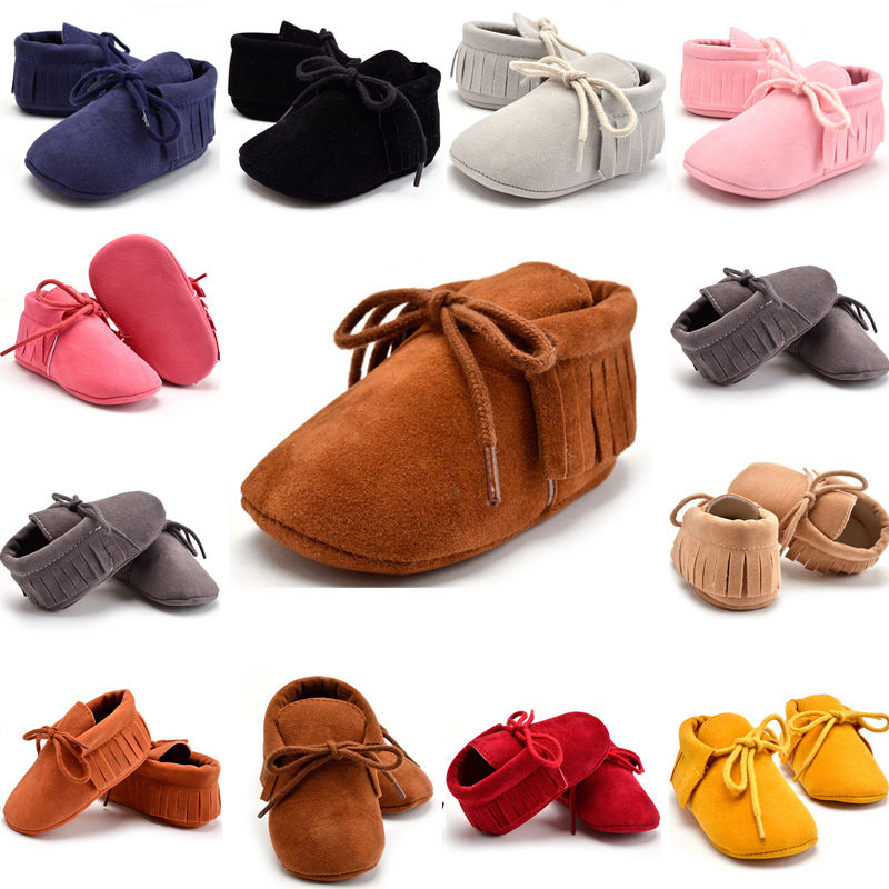 Baby Boy Girl Tassel Soft Sole Suede Shoes Infant Toddler Newborn Moccasin 0-18M