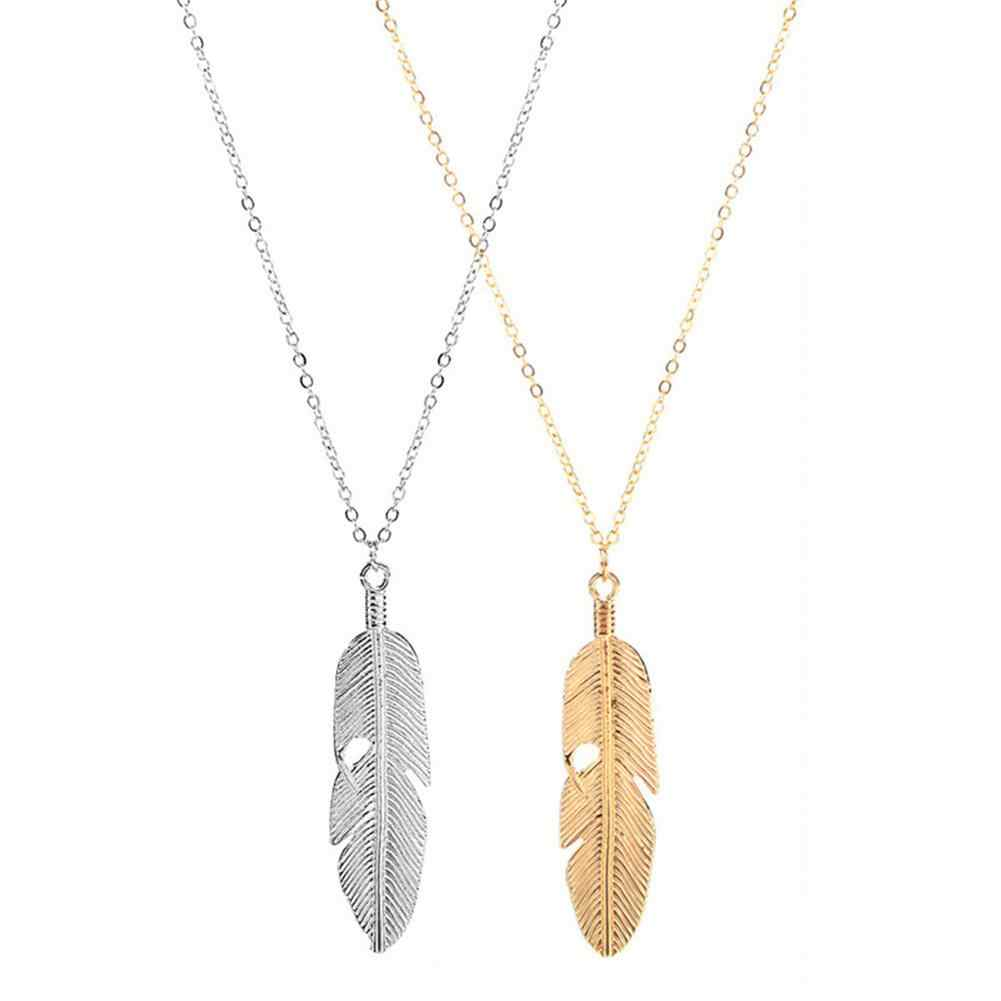 New Men Women Necklace Pendant Choker Silver Gold Color Metallic Leaf Feather Necklace Sweater Decoration Chain Female Jewelry