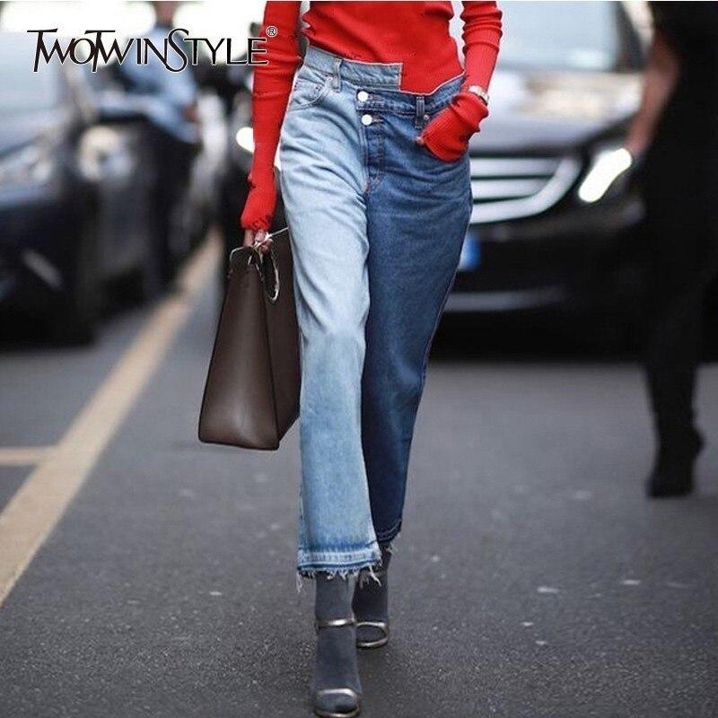 Deuxtwinstyle Patchwork asymétrique Denim pantalon pour femmes taille haute Hit couleurs gland jambe large Jeans femme 2019 automne