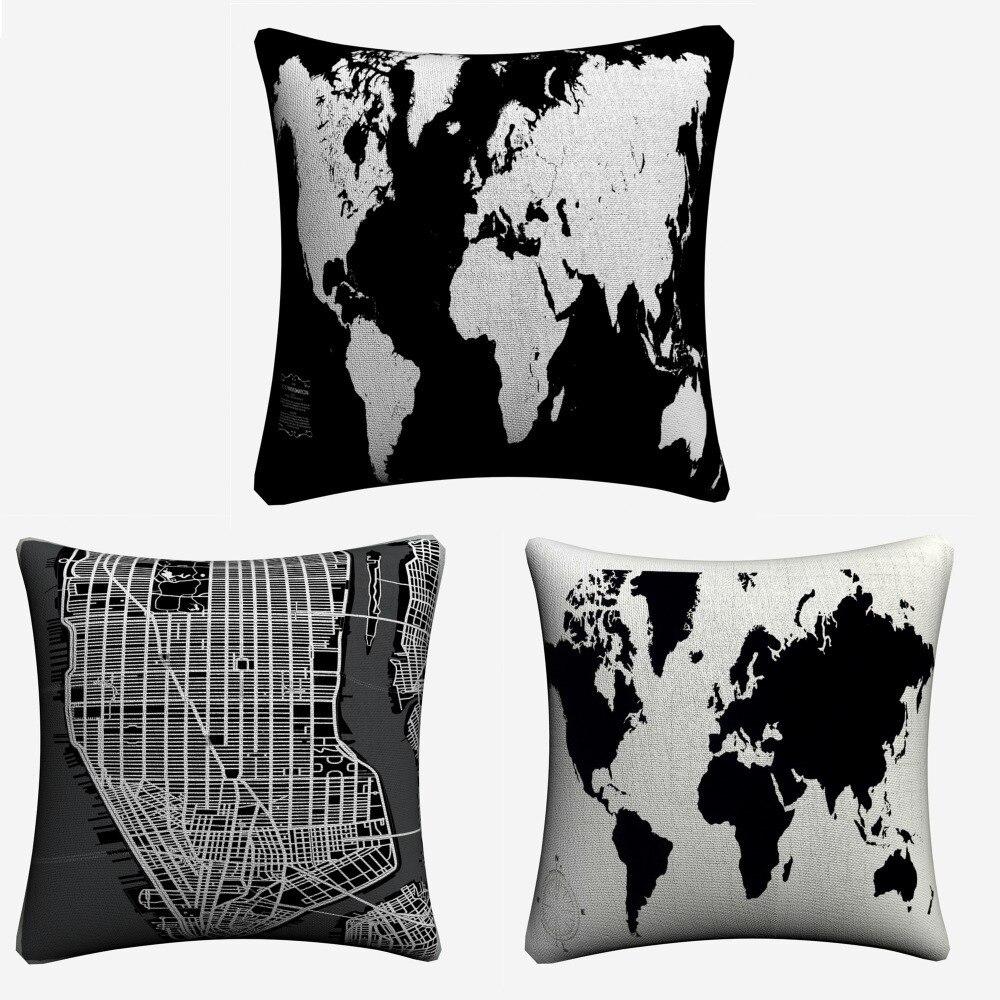 Mapa Do Mundo preto E Branco Decorativa Linen Capas de almofadas Para O Sofá 45x45 cm Lance Fronha Home Decor fronha de Almofada