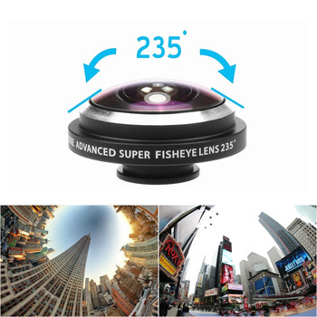 Mobile Phone Lenses 235 Degree Fish Eye Camera Lens External Camera For Android Phone For iPhone Super Wide Angle HD Phone Clip
