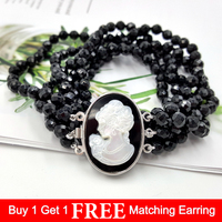 LiiJi Unique Natural Black Onyx 6mm Faceted Beads 3strand Carved Shell Beauty Girl Box Clasp Fashion Necklace 18''