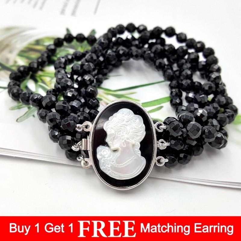 LiiJi Unique naturel noir Onyx 6mm perles à facettes 3 brins sculpté coquille beauté fille boîte fermoir mode collier 18''