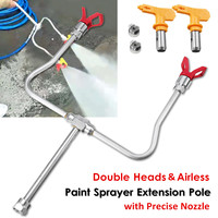 Professional Tools Airless Paint Spray Extension Pole Double Nozzle Head + Tips Guard Powerful Painting Tool 2 Precise Nozzle