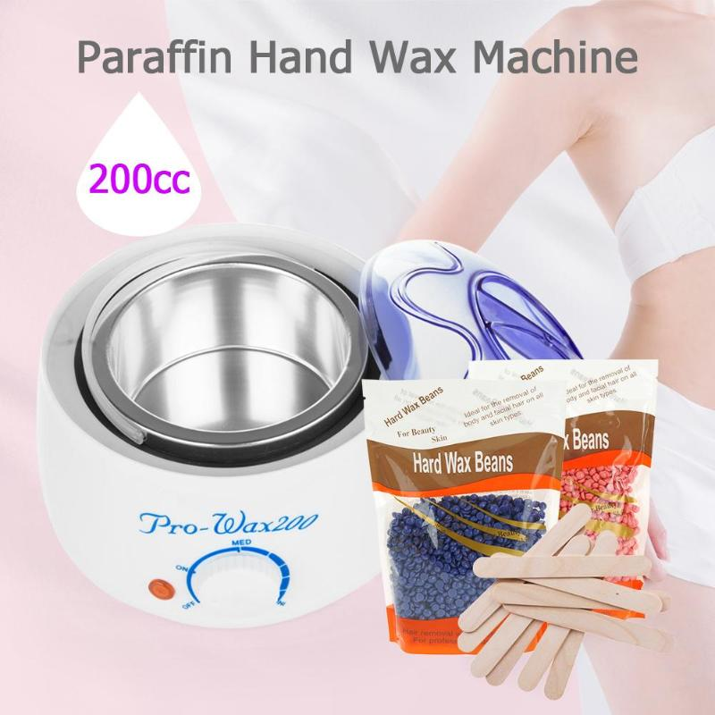 Professional Warmer Wax Heater 200cc SPA Hand Epilator Feet Hot Paraffin Heater Body Hair Removal Tool + 100g Wax