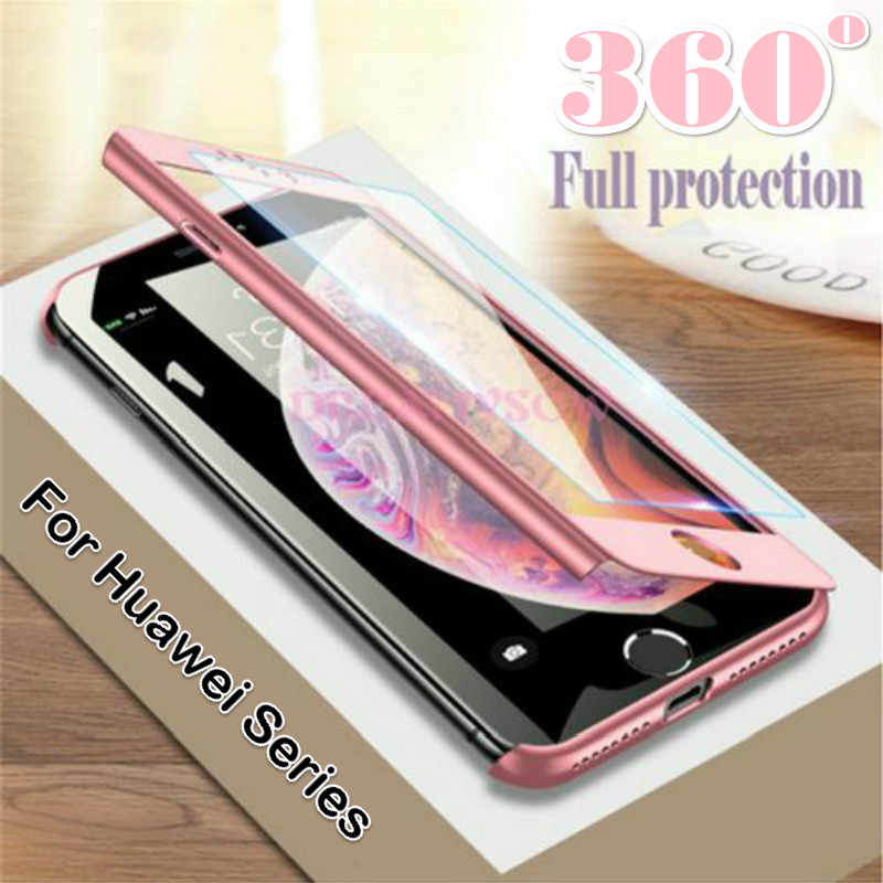 Luxury 360 Full Cover Phone Case For Huawei Y7 Y6 pro 2019 P20 P30 Pro P8 P9 P10 Lite Honor 10 8 9 lite 7A 7C Cases With Glass