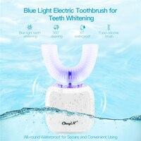 Синий светильник 360 звуковая автоматическая зубная щетка Ультра звуковая вибрация беспроводной электрический мягкий массаж для взрослых о...