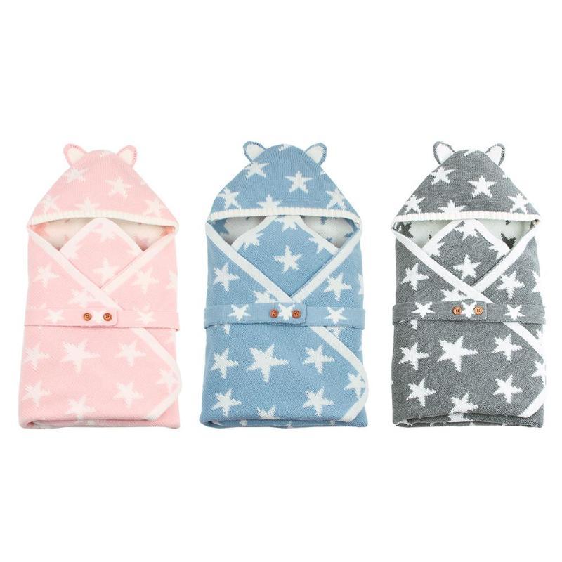 Nouveau-né Cartoon Bear tricot enveloppes enfants mignon étoiles enveloppe hiver à capuche bébé sac de couchage boutons sacs de nuit pour poussette