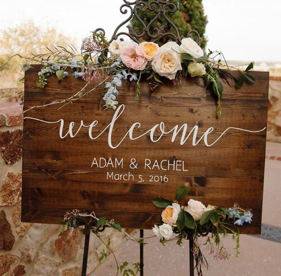 Unique Personalized Wedding Welcome Sign Wood,Large Rustic