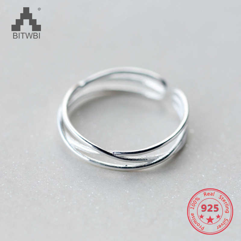 Factory Price 100% 925 Sterling Silver Fashion Minimalism Three Layer Open Ring Fine Jewelry for Female