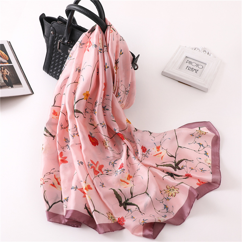 Luxury Brand Women's Silk Scarf Soft Floral Print Scarves Large Shawls and Wraps Long Lady Pashmina Foulard Hijabs Beckerchief