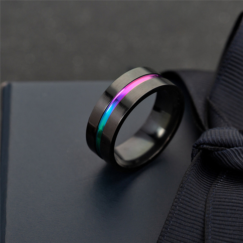 Generous Rainbow Stainless Steel Rings For Women Jewelry Black Wedding Promise Ring Men Colorful Couple Rings Femme Engagement Finger Ri