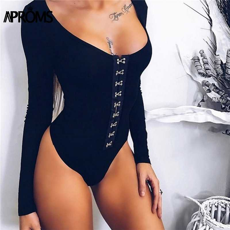 Aproms Black Long Sleeve Clasp Button Knitted Bodycon Bodysuit Women Ribbed  Romper Sexy Slim Fitted Jumpsuit b496c6117