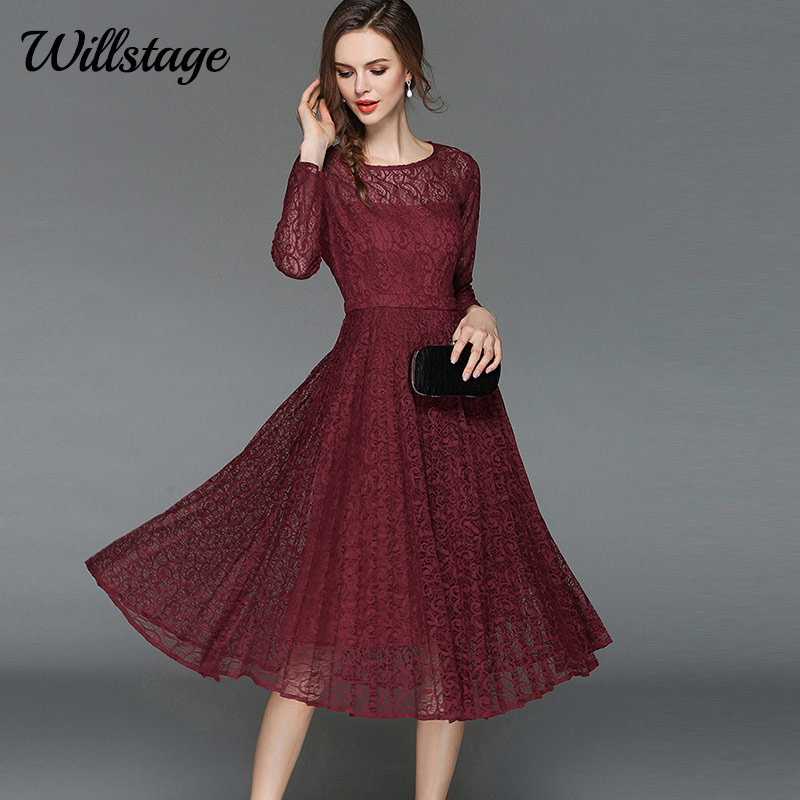 Willstage 2019 Spring Lace Dress Long Sleeve Elegant Mid
