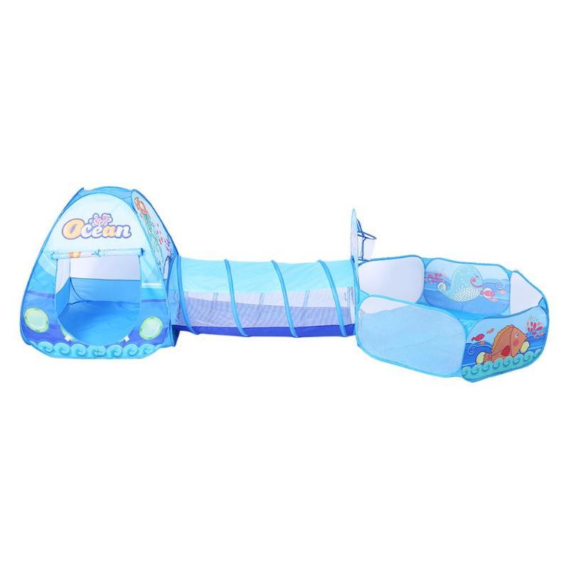 3 в 1 Набор Детские палатки складной детский туннель для ползания + игровые палатки + детский Океанский шар детские игровые Игрушки Игровой Набор «Дом» для улицы