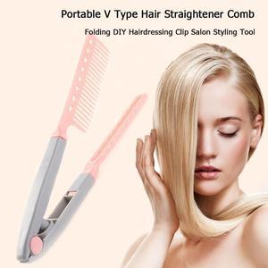 Image 2 - Портативный выпрямитель для волос V образный выпрямитель для волос складной Расческа для самостоятельной сборки