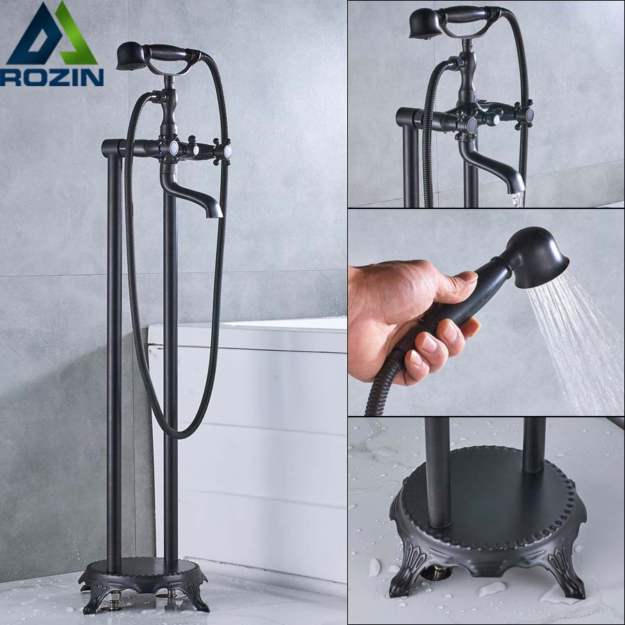 Dual Cross Handle Floor Mount Bathtub Mixer Faucet with Handheld Shower Black Bronze Bathtub Sink Faucet