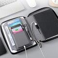 Бизнес ноутбук многофункциональный офисный Органайзер блокнот с чехлом для мобильного телефона Padfolio с беспроводным зарядным устройством ...