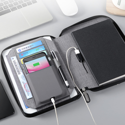 Business Notebook Multifunction Office Organizer writing pad with cellphone bag Padfolio with wireless battery charger bag 1319D