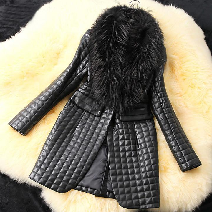 Fashion Women\'s Long Sleeve Synthetic   Leather   Lapel Fur Hand-wash Black Collar Solid Coat Casual Jacket Overcoat