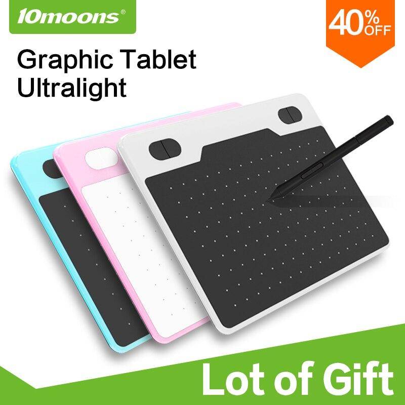 10moons 6 Polegada tablet gráfico ultralight, 8192 níveis de desenho digital, tablet, bateria-livre caneta, compatível com dispositivo android