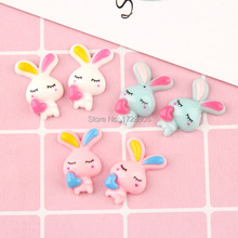Resin Cabochons Rabbit Cartoon 10 pcs 27 mm Scrapbooking Crafts Hair Bow Center Embellishment Flatback Charms