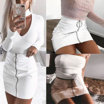 2018 New Arrival Summer Women PU Leather Pencil Skirts High Waist Mini Short Skirt Stretch Party Vestidos 1